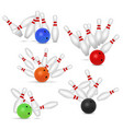 bowling ball and skittles set realistic vector image