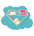 bookshelves heart shaped with colorful books book vector image