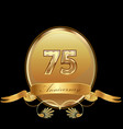 75th golden anniversary birthday seal icon vector image