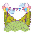 beautiful landscape with party balloons helium vector image