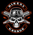 biker skull and crossed spark plugs vector image