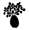 black silhouette of cartoon plant with long vector image