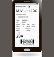 boarding pass on smartphone screen travel concept vector image