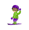 boy on snowboard riding winter outdoor activity vector image