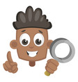 boy with magnifying glass on white background vector image vector image
