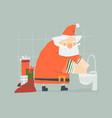 cartoon funny christmas santa claus washes hands vector image