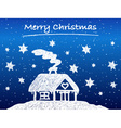 Christmas cottage with snow at night vector image vector image