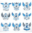 collection of heraldic decorative coat of arms vector image vector image