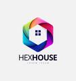 colorful hexagonal house shape logo design vector image