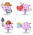 cotton candy character set with explorer heart vector image vector image