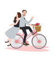 couple riding bike bicycle romance beautiful vector image vector image