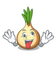 crazy fresh yellow onion isolated on mascot vector image vector image