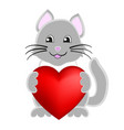 cute kitten holds in paws heart of vector image