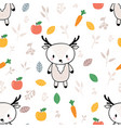 cute seamless pattern with little deer and fruits vector image