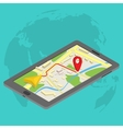 Flat 3d isometric mobile GPS navigation maps vector image