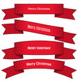 four red ribbons with inscription merry christmas vector image vector image