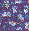 fun koalas in the eucalyptus seamless pattern vector image vector image