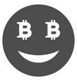 glad bitcoin smiley flat icon vector image