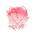 hand drawn heart with black outline and watercolor vector image
