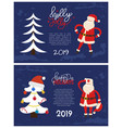 holly jolly greeting card santa hold hand on waist vector image vector image