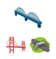 isolated object of bridge and construction logo vector image