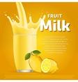 Lemon sweet milkshake dessert cocktail vector image vector image