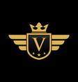 letter v shield wing vector image vector image