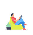 man is working at his tablet vector image vector image