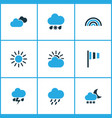 meteorology colored icons set collection of cold vector image vector image