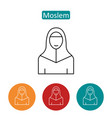 moslem in hijab outline icons set vector image vector image