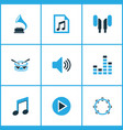 music icons colored set with sound earphone file vector image vector image