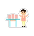 paper sticker on white background office worker vector image vector image