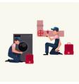 plumbing specialist plumber at work repairing vector image