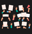 protesters banners demonstration hand hold vector image