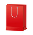 red paper shopping bag handle package icon vector image vector image
