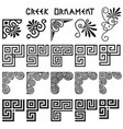 set corner design elements in greek style vector image