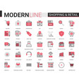 shopping retail thin red black flat line icon vector image vector image
