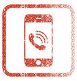 smartphone call framed textured icon vector image vector image