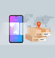 smartphone mobile delivery package concept vector image