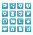 Social media icons on blue square vector image vector image