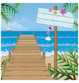 summer dock on beach with wood sign vector image