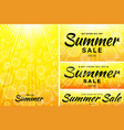 summer sale template banners sun rays backgrounds vector image