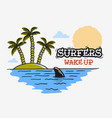 surfing surf themed with shark fin and an island vector image vector image