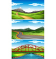 Three scenes with mountains and trails vector image vector image