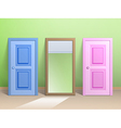 Two doors and a mirror vector image