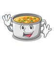 waving cartoon chicken soup pot for dinner vector image