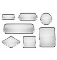 white glass buttons with chrome frame set of vector image vector image