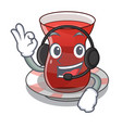 with headphone tea turkish on the with mascot vector image