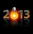 twenty thirteen year light bulb on black vector image