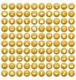 100 different gestures icons set gold vector image vector image
